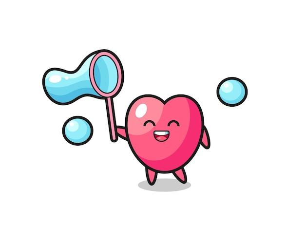 Gelukkig hart symbool cartoon spelen zeepbel, schattig stijl ontwerp voor t-shirt, sticker, logo-element