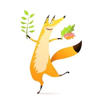 Gelukkig herfst dansende vos met herfstbladeren