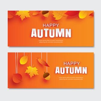 Gelukkig herfst papier kunststijl met bladeren die op een oranje achtergrond hangen.