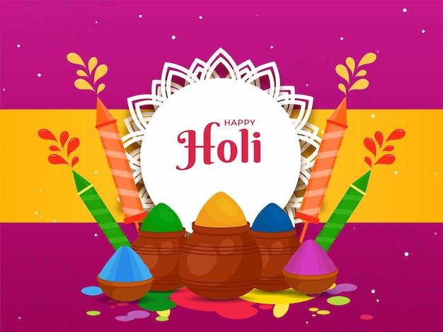 Gelukkig holi-feest posterontwerp met poederkleur in modderpotten