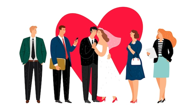 Gelukkig huwelijk concept. gelukkig jonggehuwden. vector bruid, groo en gasten. net getrouwd illustratie