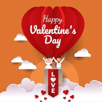 Gelukkig huwelijkspaar in een hete luchtballon in de hemel. tijd tot viering van valentijnsdag