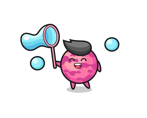 Gelukkig ijs scoop cartoon spelen zeepbel, schattig stijl ontwerp voor t-shirt, sticker, logo element