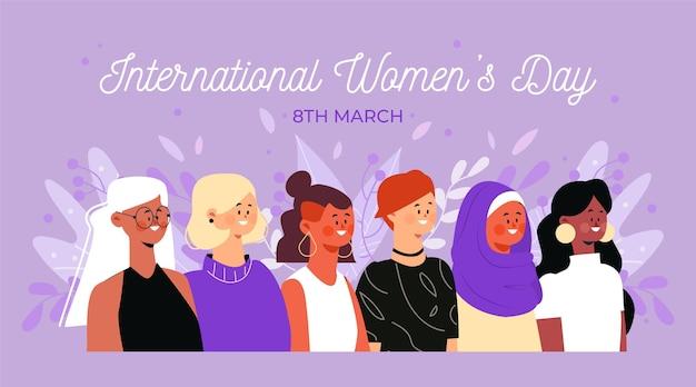 Gelukkig internationaal vrouwendag plat ontwerp
