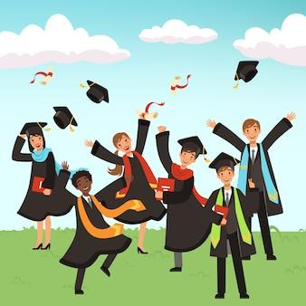 Gelukkig internationale afgestudeerden met diploma's en illustratie van afstuderen hoeden