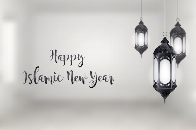 Gelukkig islamitisch nieuw jaar met hangende lantaarn