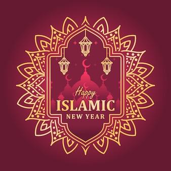 Gelukkig islamitisch nieuwjaar achtergrond, hijri islamitisch nieuwjaar, aam hijri mubarak Premium Vector