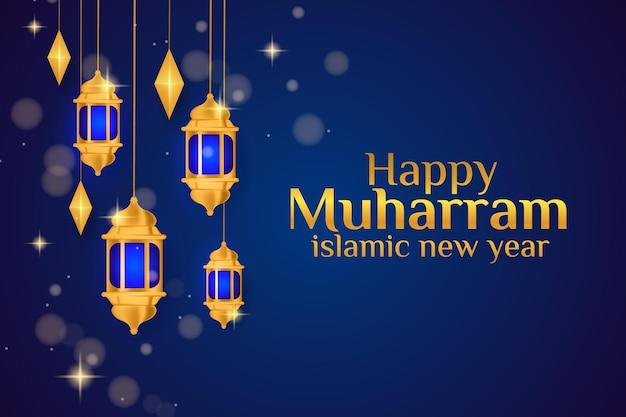Gelukkig islamitisch nieuwjaar met gouden lantaarns