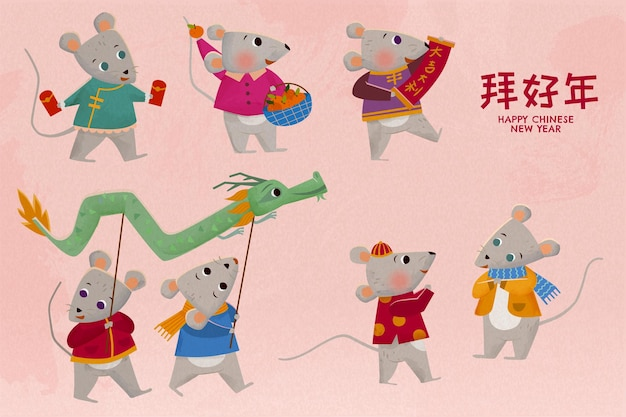 Gelukkig jaar van de rat schattige karakters op roze achtergrond Premium Vector