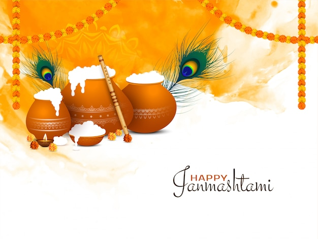 Gelukkig janmashtami festival mooie begroeting achtergrond