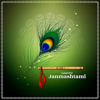 Gelukkig janmashtami religieus festival klassieke achtergrond ontwerp vector