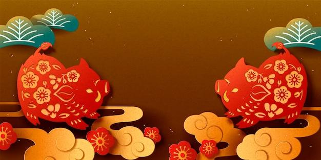 Gelukkig japans nieuwjaar banner met papier gesneden stijl zwijn op bronzen background