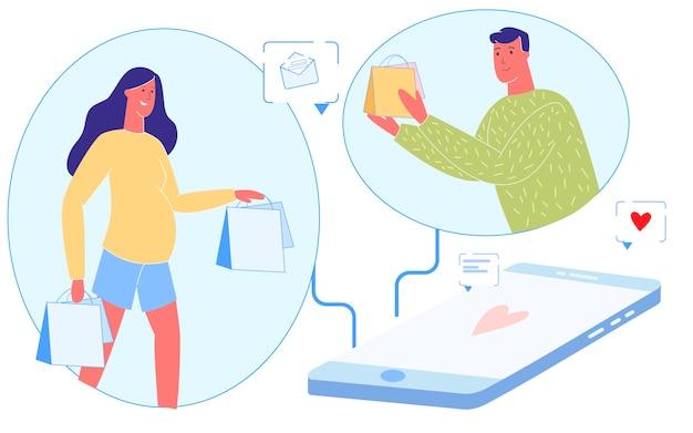 Gelukkig jong gezin chatten met behulp van smartphone
