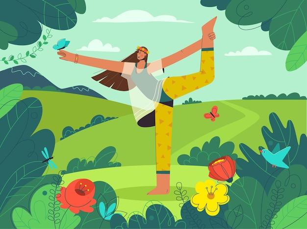 Gelukkig jong meisje doet yoga asana op natuurlandschap.