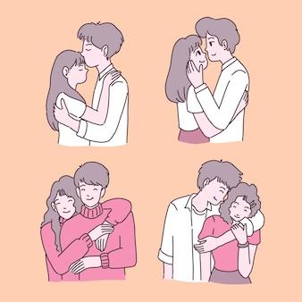 Gelukkig jong meisje en jongen verliefd illustraties set