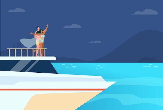 Gelukkig jong paar dat pret op jacht heeft. jongen en meisje op snuit van schip, boot of voering Gratis Vector