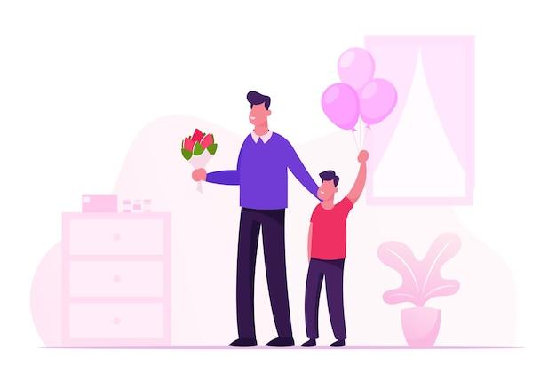 Gelukkig jonge vader met bloemboeket en zoontje met ballonnen bos staan in ziekenhuis kamer vergadering moeder en pasgeboren baby. cartoon vlakke afbeelding