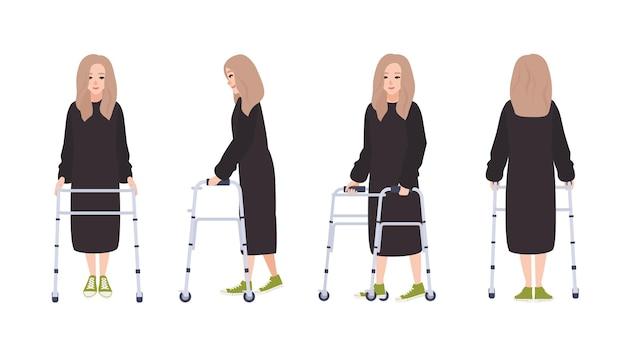 Gelukkig jonge vrouw met looprek of rollator geïsoleerd op een witte achtergrond. vrouwelijk personage met lichamelijke handicap of trauma. voor-, zij-, achteraanzichten. platte cartoon kleurrijke vectorillustratie.