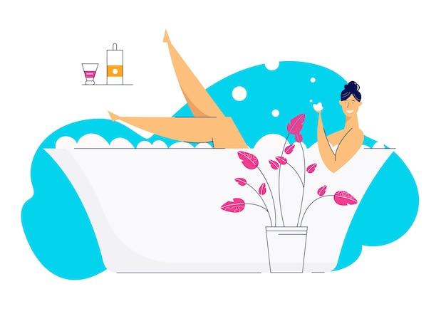 Gelukkig jonge vrouw ontspannen in bad vol schuim. vrouwelijk personage in de badkamer op kuuroorddag. mooi meisje wassen in badkuip.