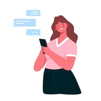 Gelukkig jongedame met smartphone chatten met vrienden, familie, vriend.