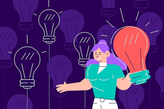 Gelukkig jongeman bedrijf gloeilamp. lachende jongen met gloeilamp. concept van het genereren van innovatieve ideeën, creatief denken, creativiteit en verbeelding. platte cartoon kleurrijke illustratie