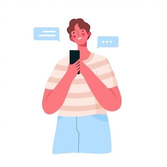 Gelukkig jongeman met smartphone chatten met vrienden, familie, vriendin.