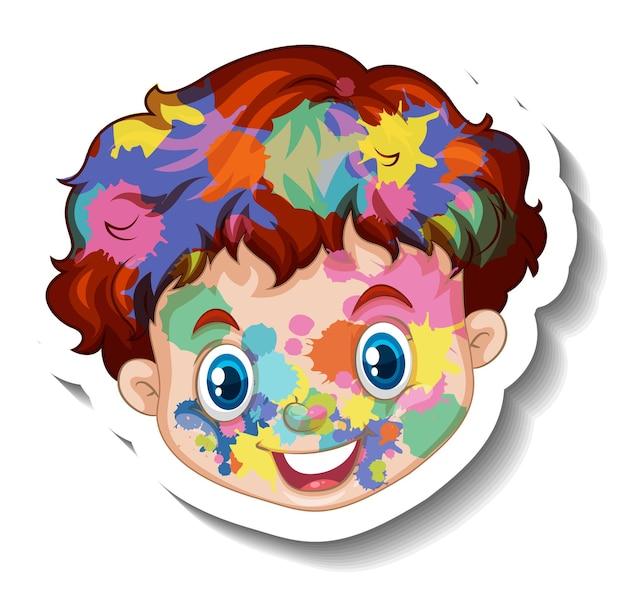 Gelukkig jongensgezicht met kleur op zijn gezichtssticker op witte achtergrond Gratis Vector