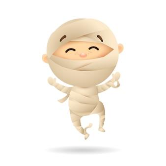 Gelukkig jongetje in mummiekostuum