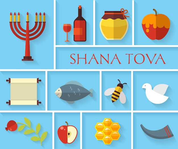 Gelukkig joods nieuwjaar shana tova pictogrammen instellen. appel en honing, granaatappel en eten,