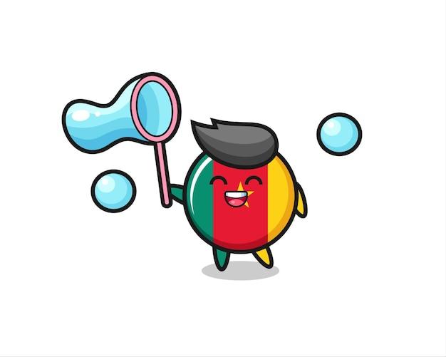 Gelukkig kameroen vlag badge cartoon spelen zeepbel, schattig stijl ontwerp voor t-shirt, sticker, logo element