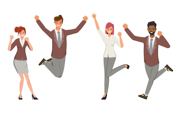 Gelukkig kantoorpersoneel karakter mensen platte vectorillustratie. vrolijke corporate werknemer cartoon tekenset.