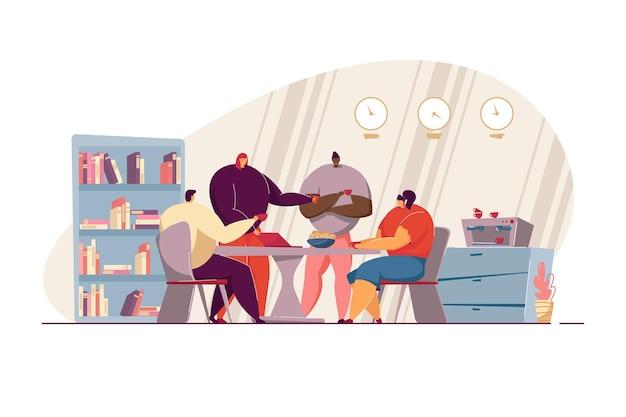 Gelukkig kantoorpersoneel praten tijdens koffiepauze vlakke afbeelding