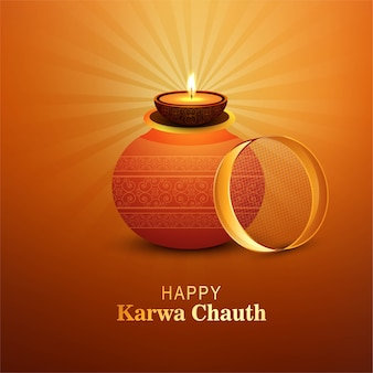 Gelukkig karwa chauth festival card viering achtergrond