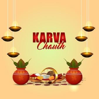 Gelukkig karwa chauth festival wenskaart met creatieve decoratieve chalani en kalash