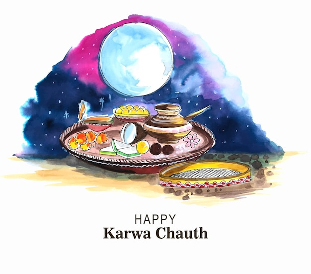 Gelukkig karwa chauth viering kaart aquarel ontwerp