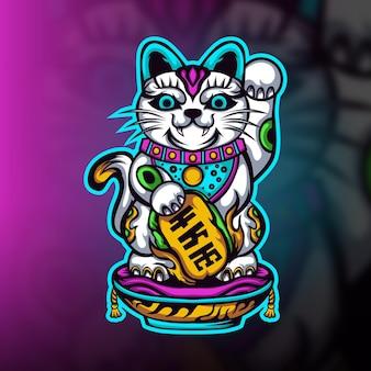 Gelukkig kat gaming esport mascotte logo