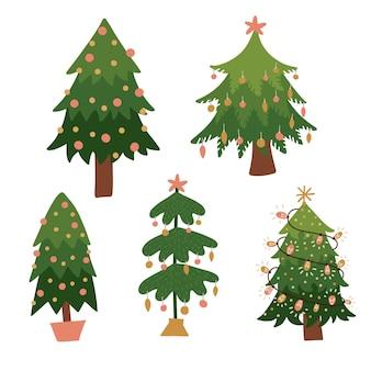 Gelukkig kerstbomen collectie. leuke geïsoleerde elementen voor kinderontwerp. vector platte hand getekende illustratie