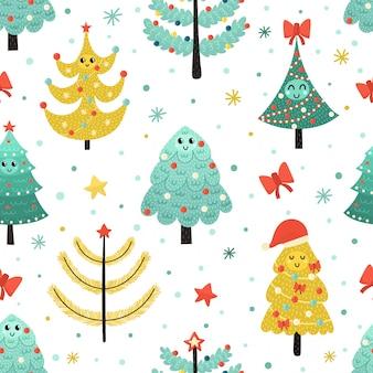 Gelukkig kerstbomen naadloos patroon
