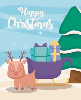 Gelukkig kerstfeest met rendieren en slee