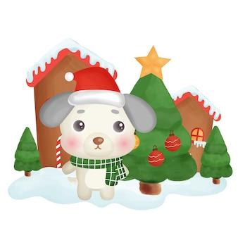 Gelukkig kerstkaart met een schattige hond in de sneeuwstad.