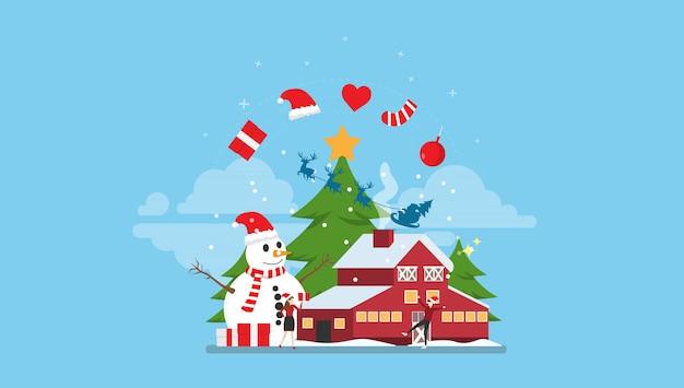 Gelukkig kerstmoment met kleine mensen
