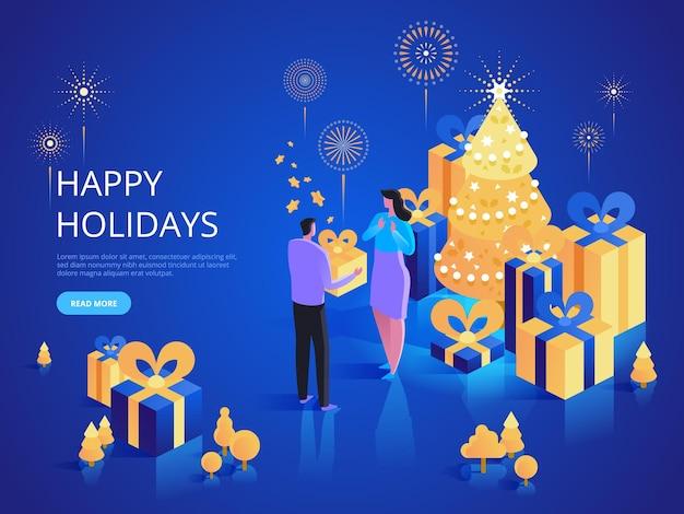 Gelukkig kerstvakantie bestemmingspagina vector sjabloon. cadeau geven website homepage interface idee met isometrische illustraties. kerst verrassing. vier het traditionele webbanner 3d-concept voor winterevenementen
