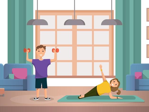 Gelukkig kind doet ochtend fitness oefeningen thuis