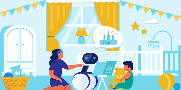 Gelukkig kind en moeder spelen met huishoudelijke robot