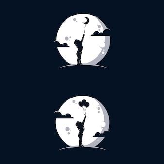 Gelukkig kind spelen met ballonnen in het logo-ontwerp van de maan