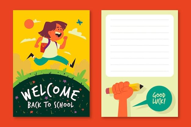 Gelukkig kind terug naar school kaartsjabloon