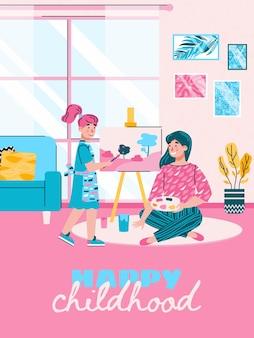 Gelukkig kindertijdkaartontwerp met moeder en dochter die passie voor creatieve hobby delen