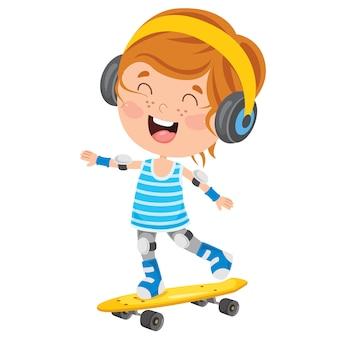 Gelukkig klein kind buiten skateboarden