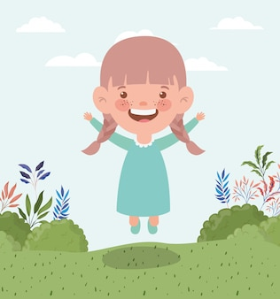Gelukkig klein meisje in het veld landschap