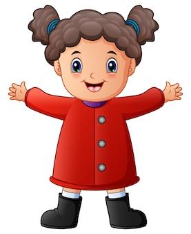 Gelukkig klein meisje in rode winterkleren